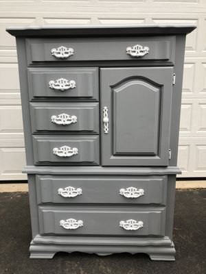 Large Solid Wood Tallboy Dresser Gray With White Handles Made in the USA for Sale in Woodbridge, VA