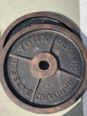 Pair of York 45lbs Olympic weight plates for Sale in Tampa, FL
