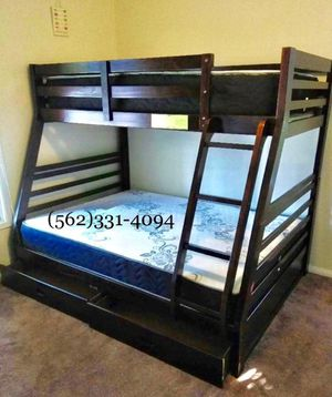 Twin/full expresso bunkbed w. Mattresses included for Sale in Fresno, CA
