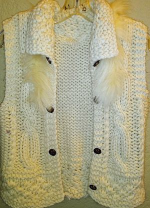 Button-up sleeveless vest with faux fur size small for Sale in Tampa, FL