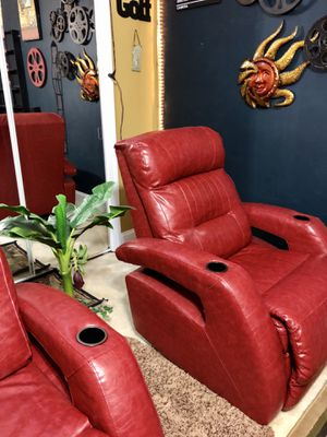 Leather Electric Theatre Chairs in deep red for Sale in Hopewell, VA