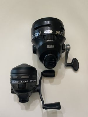 Two Spincast fishing reels, Zebco 808 & Shakespeare Synergy TI 10 for Sale in Alvin, TX
