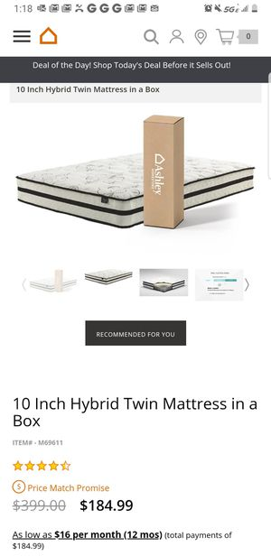 Brand New twin size 10 inch hybrid mattress in a box for Sale in Sully Station, VA