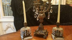 $75.00 - Antique Candleholders - Bronze/Brass/Marble/Crystal Prism - Candles not included/At Minimum Price for Sale in Miami, FL