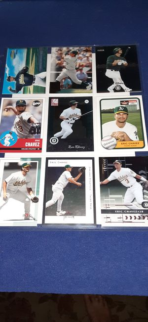 Eric Chavez baseball 9 card page $2 takes all for Sale in Garland, TX