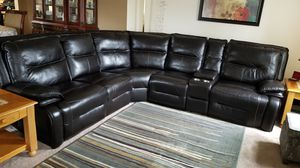 Real leather 6-Piece Power Reclining Sectional with 1 Stationary Chair for Sale in Centreville, VA
