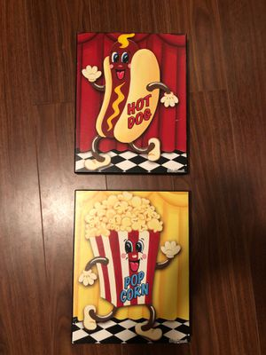 Hot Dog Popcorn Wall Art Home Game Room Decor for Sale in Sun City, AZ