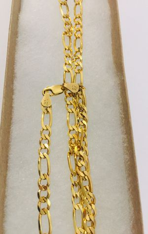 24inch 925 Italian Sterling Silver Figaro chain plated with 24K gold for Sale in Baldwin Park, CA