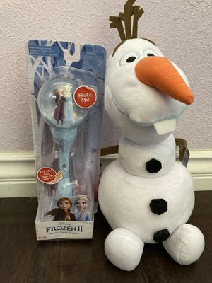 Disney Frozen 2 Sisters Musical Snow Scepter Wand and Olaf for Sale in Anaheim, CA