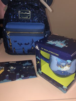 Minnie Mouse Main Attraction Peter Pan Set Lounge Fly Bag + Pin Set + Mug for Sale in Portland, OR
