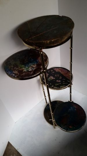 Plant stand stained glass brass stand with a wood top for Sale in Morris, IL
