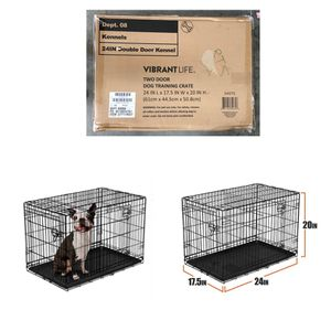 """Vibrant Life Double-Door Folding Dog Crate with Divider, 24"""" for Sale in Missouri City, TX"""