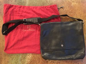 Authentic Cole Haan Black Leather Messenger Bag with magnetic closures for Sale in New Haven, CT