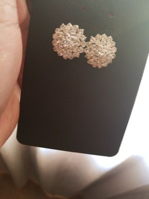 Pair of Silver Diamond Earrings for Sale in Baltimore, MD