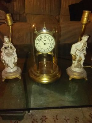 Antique porcelain lamp set antique German clock for Sale in Cleveland, OH