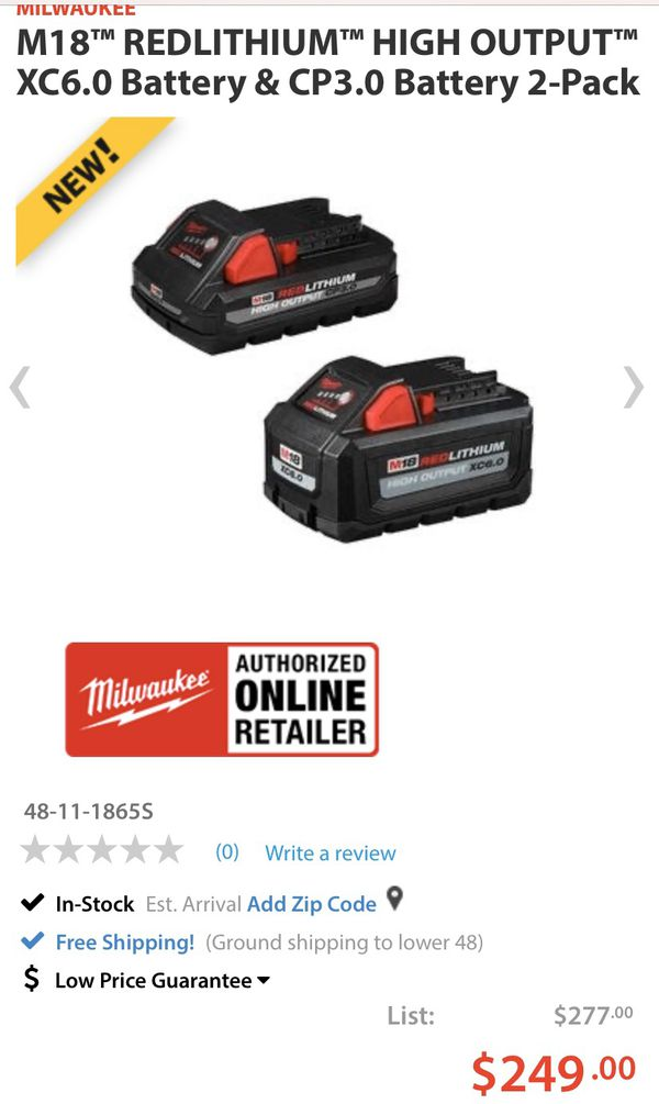$248 value Milwaukee M18 REDLITHIUM High Output battery combo pack XC6.0ah 3.0ah CP