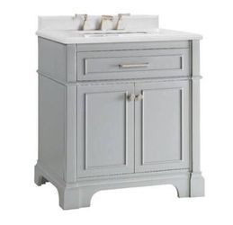 825- Melpark 30 inch vanity in Dove Grey with a White Quartz top for Sale in Roswell,  GA