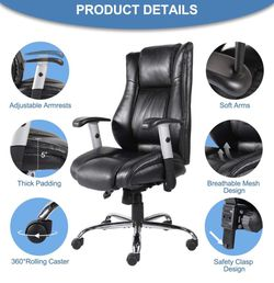 In Box Office executive black Chair Ergonomic Computer Bonded Leather Adjustable Desk Chair, Swivel Comfortable Rolling for Sale in Whittier,  CA