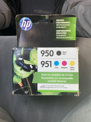 HP 950 Black, HP 951 Tri-Color Original Ink Cartridges, 4-Pack (X4E06AN) for Sale in Oxon Hill, MD