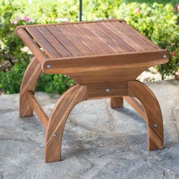 Outdoor Wood End Table Wooden Accent Patio Furniture