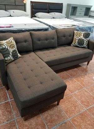 [F7086] 2-PCS SECTIONAL POLYFIBER CHOCOLATE [ONLY $50 DOWN AND 90 DAYS TO PAY SAME AS CASH] for Sale in Irving, TX