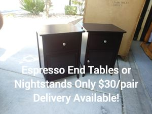 Pair of Espresso Living Room End Tables or Bedroom Nightstands for Sale in Peoria, AZ