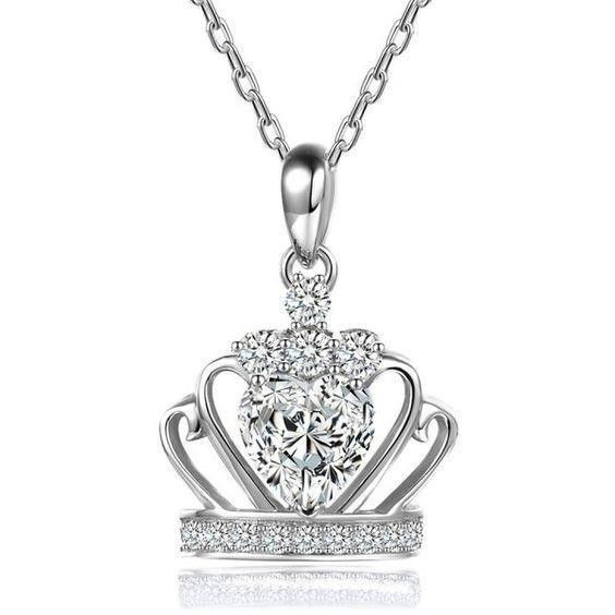 Heart And Round Cut 1.50 Carats Diamonds Necklace Pendant Gold White 14K