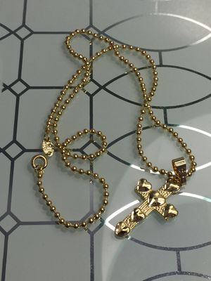 "18k GPL Hearts Cross Pendant With Ball Chain Necklace 18"" 2mm for Sale in Nashville, TN"