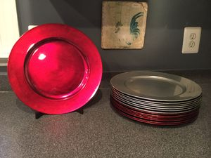 Red & Silver Charger Plates for Sale in Leesburg, VA