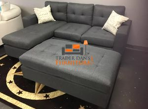 Brand New Grey Linen Sectional Sofa Couch + Ottoman for Sale in Alexandria, VA