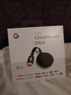 Google Chromecast Ultra 4k HDR capable HDMI tv streaming and more for Sale in Las Vegas, NV