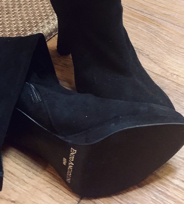 Enzo Angiolini Black Suede Knee-High Boots (Size 8 1/2 M)