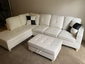 New 3pc White Sectional Sofa Set for Sale in Kent, WA