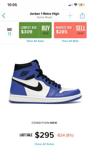 High Game Royal Blue Jordan 1s Size 10 for Sale in White Plains, MD