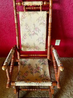 1800's Antique Eastlake Victorian Turned Walnut Platform Spring Rocking Chair for Sale in Dinuba,  CA