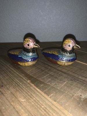 "Pair of 2-3/4"" Chinese Cloisonné Brass Enamel Mallards Ducks Trinket Box Containers for Sale in Citrus Heights, CA"
