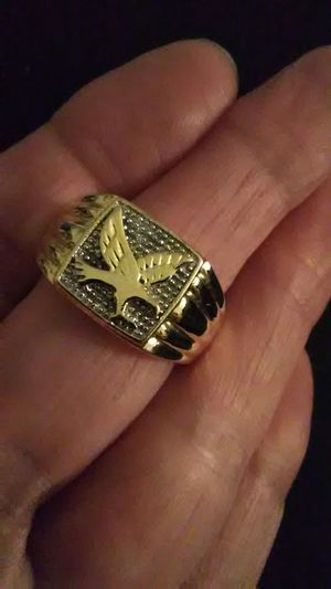 $65 Size 10 men's Gold Eagle ring 18K750/925 for Sale in Lombard, IL