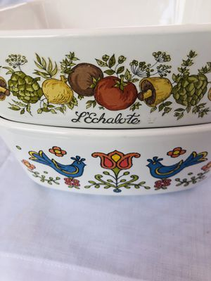 Vintage 1975 Corning Ware two doves, and LEchalote 1 1/2 qt & 1 qt great shape for Sale in South Bend, IN