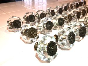 Set of 30 vintage glass and brass cabinet knobs for Sale in Yorba Linda, CA