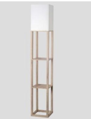 Square stick floor lamp white includes bulb for Sale in Frederick, MD