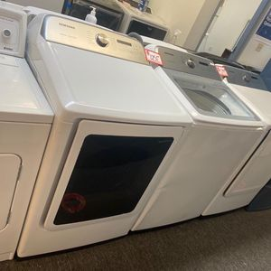 New Samsung top load washer & dryer set scratched and dented with 6 months warranty for Sale in Laurel, MD