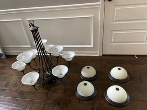 9 bulb chandelier and dome lights for Sale in Douglasville, GA