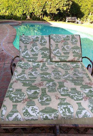 Very cool outdoor pool bed furnitureThis is one single piece with three cushions it's very heavy it's very ornate it's custom painted it's beautiful for Sale in Beverly Hills, CA