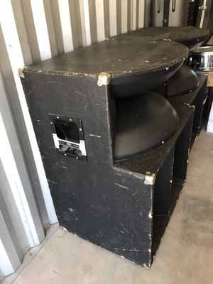 Two pro audio long throw speakers with bottom cabinets for Sale in Yuba City, CA