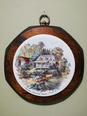 VTG Wood Wall Hanging Made by Jerry Schultz Co NY USA American Homestead Summer for Sale in Lorton, VA