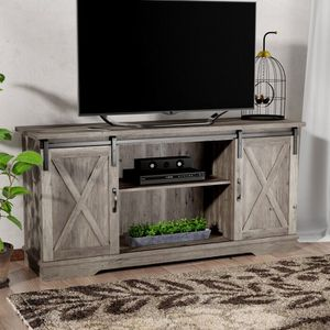 Farmhouse rustic TV stand with sliding doors for Sale in Carmichael, CA