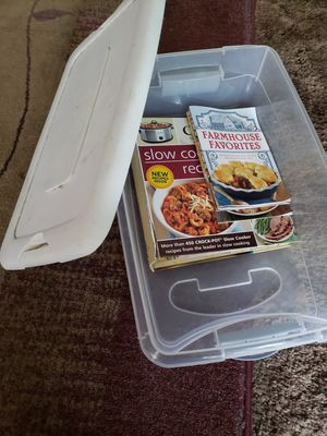 Cook books and storage container for Sale in Hillsboro, OR
