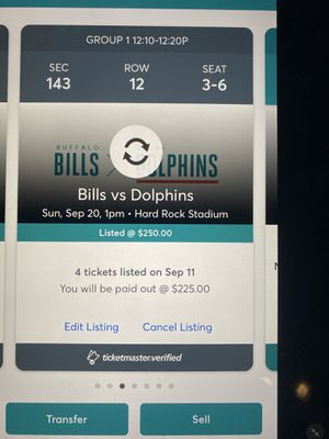 Dolphins versus Buffalo lower-level seats Dolphin side in the shade. $225 each. Only 13,000 seats available out of 70,000 seats very safe if you're w for Sale in Miami, FL