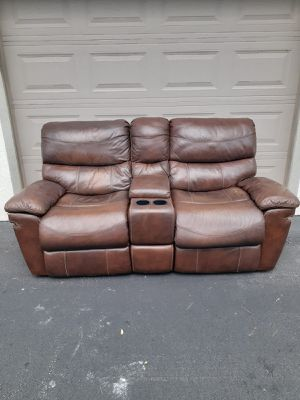 Reclining Leather Sofa - Delivery is Negotiable for Sale in Pompano Beach, FL