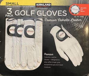 Kirkland Signature Golf Gloves Prem. Cabretta Leather 3Pack-Small New . Package.Condition: Open Box / Unused Have a wonderful day and Thank you for y for Sale in Morrisville, NC